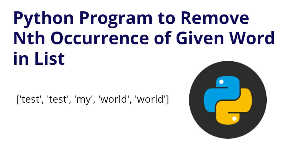 Python Program to Remove Nth Occurrence of Given Word in List