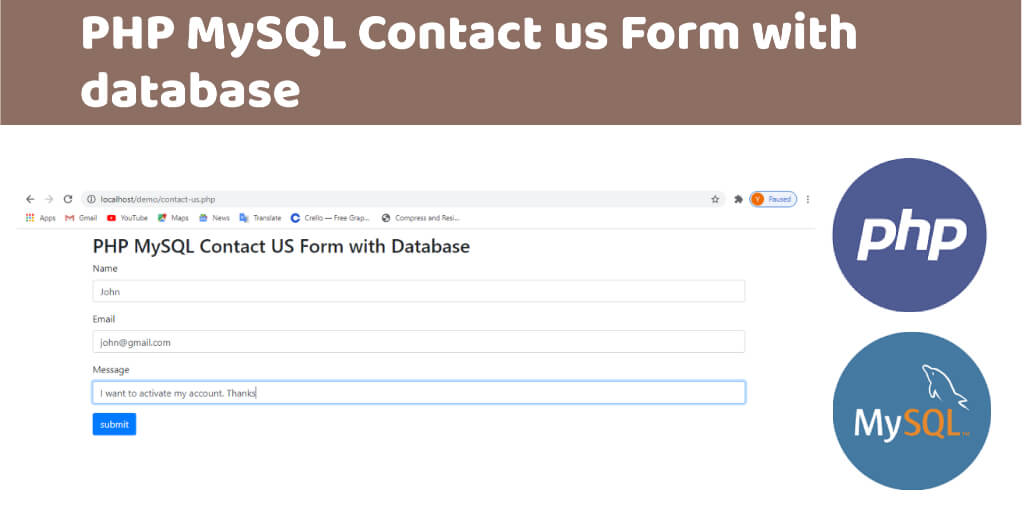 PHP MySQL Contact us Form with database