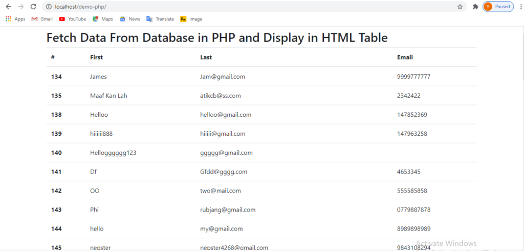 how to retrieve data from database in php and display in html table
